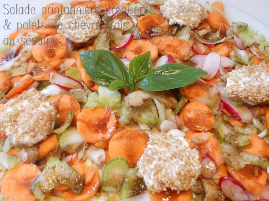 salade printannière croquante & palets de chèvre frais au sésame grillé