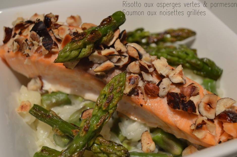 risotto aux asperges vertes & parmesan, saumon aux noisettes grillées