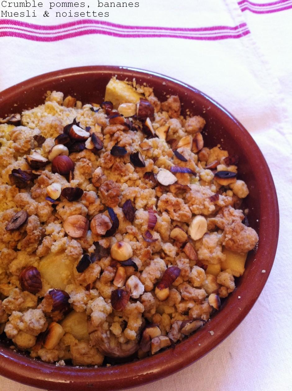 Crumble pommes,bananes Muesli&noisettes